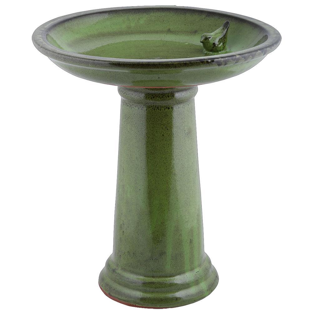 Fågelbad Grön Keramik
