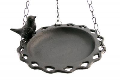 hängande fågelbad med dekorativ fågel järn