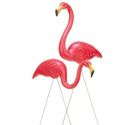 Rosa Flamingo orginalet plast trädgård